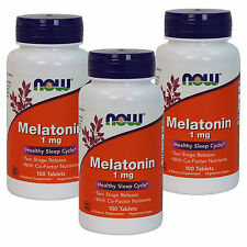 3 x NOW FOODS Melatonin Two Stage Time Release 1 mg 100 Tabs, FRESH, MADE IN USA