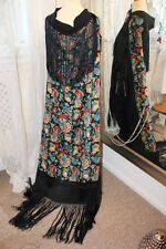 Black Silk floral large Scarf Piano tassled Shawl - Ditsy Vintage 1920s 1930s