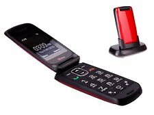 TTfone Star  RED Big Button Simple Easy Clamshell Flip Sim Free Mobile Phone
