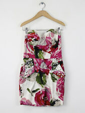 Lipsy Womens Ivory Floral Strapless Dress Size 12