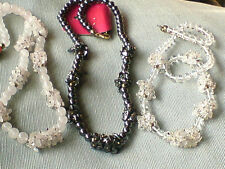 "GEMSTONE CLUSTER 18""NECKLACES WITH ROSE QUARTZ,HEMATITE&CRYSTAL STONES £7.99each"