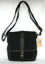 NEW FOSSIL RANGER CITY/MESSENGER BAG w/ BLACK CANVAS+GENUINE LEATHER