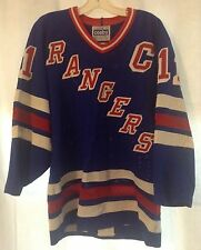 VTG Authentic Mark Messier New York Rangers Blue Jersey By Gerry Cosby / CCM 42