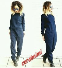ZARA NEW BLUE DENIM LONG SLEEVE JUMPSUIT WITH POCKETS SIZE S REF:5520/275