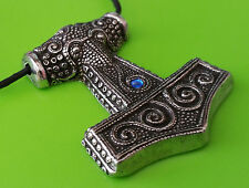 Pewter Viking Mjölnir Skane Thor's Hammer Replica Pendant Necklace - Blue Jewel