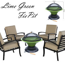 LARGE BBQ GRILL FIREPIT LIME GREEN PORTABLE W/ POKER MESH GARDEN PATIO HEATER