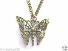 Antique gold brass filigree butterfly pendant 30 inch chain necklace