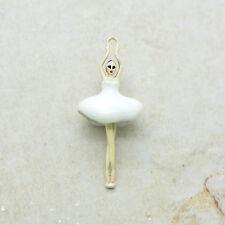 2 Ballerina Girl Charm Hand Painted White Enamel Tutu Pendant Ballet Pendant