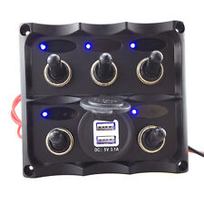 New Marine Electric Blue LED Toggle Switch Panel 5 Gang with Dual USB Charger