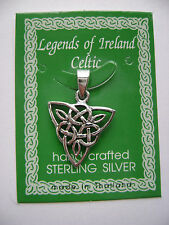 Sterling Silver Celtic Irish Triangle Knot Pendant New