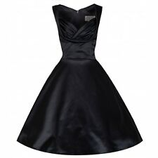 NEW VINTAGE 50'S STYLE BLACK SATIN OPHELIA ROCKABILLY SWING DRESS SIZE 10
