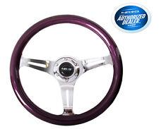 NRG Steering Wheel Purple Classic Wood Grain 3 Spoke Chrome Center ST-015CH-PP