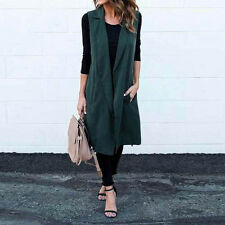 Women Sleeveless Waterfall Cape Long Lapel Cardigan Jacket Coat Waistcoat lot D