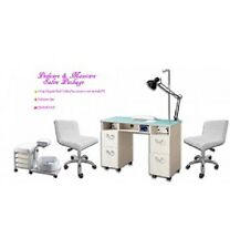 SET UP Package inc Nail Table + Extractor, 2 stools & Pedicure Spa Station +