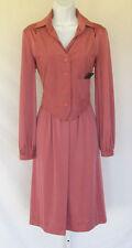 VINTAGE 1960s MOD KIMBERLY DRESS VEST BELT MAUVE POLY & MICRO SUEDE TRIM