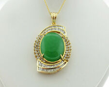 Vintage Estate Green Jade 1.75cts Diamonds Solid 14k Yellow Gold Large Pendant