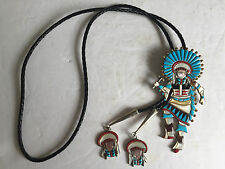 """Old Pawn Native American Sterling Silver Turquoise Inlay DANCER BOLO Tie 4.75"""""""