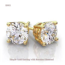 Simple Gold earring with Russian Diamond