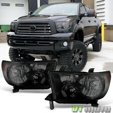 Blk Smoke 2007-2013 Toyota Tundra 08-16 Sequoia Headlights Headlamps Left+Right