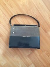 RISQUE Vintage Simulated Patent Gray Leather Small Evening Hand Bag Purse