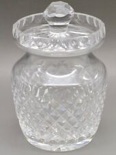 Waterford Cut Crystal Jam or Jelly Jar With Lid Alana Pattern Spoon Slot Mint!
