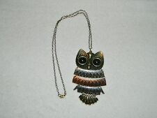 Large & Cool Claire's Articulated Owl Necklace Goldtone Coppertone Silvertone