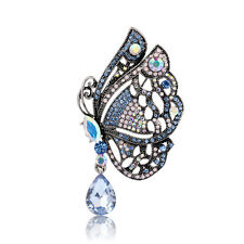Blue Butterfly Rhinestone Crystal Elegant Women Wedding Party Brooches Pin Gifts