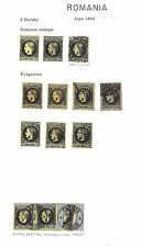 Romania 1866 2p reference collection of genuine (3) & forgeries (10) ex Jim Czyl