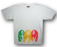 Bob Marley-Three Rasta Faces-Small White T-shirt