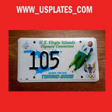 2006 OLYMPIC GAMES ITALY US VIRGIN ISLAND LICENSE PLATE SPORT TAG LOW NUMBER 105