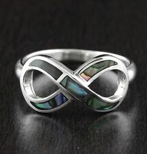 Womens 925 Sterling Silver Infinity Symbol Love Lab Abalone Shell Ring Size 7
