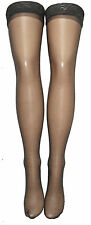 GREY SHEER LACE TOP HOLD UP STOCKINGS SILICON LYCRA BARELY BLACK VINTAGE LOOK