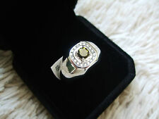 MENS CHROME TOURMALINE & WHITE ZIRCON STERLING SILVER RING ATGW 0.88CTS SIZE 10