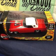 1957 THUNDERBIRD PRO STREET MODIFIED RED  HOT WHEELS W/ DISPLAY CASE 1:18 SCALE