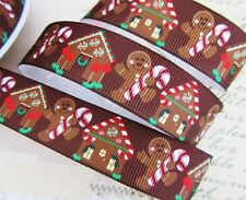 "10 yard Brown Gingerbread Man Grosgrain 7/8"" Holiday Christmas Ribbon/Bow RYC-21"