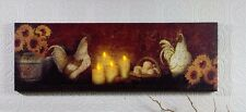 Sunflowers Roosters Candles Mantle mantel Radiance Lighted Canvas 72490 NEW