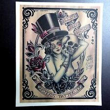 Vintage Poster Tattoo Rose Lady Skull Sticker Skateboard Guitar Vinyl Decal Car