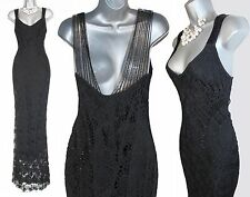 KAREN MILLEN Gorgeous Rare Black Crochet Beaded Cocktail Maxi Dress sz-3 UK10/12