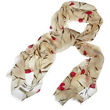 Morgan & Oates Cashmere Red Floral Print Ladies Scarf - NEW With Slight Flaws