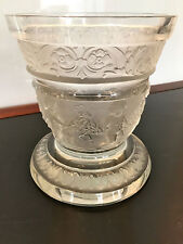 VINTAGE CLEAR AND FROSTED ART GLASS VASE IN THE LALIQUE STYLE