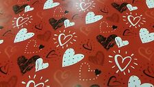 Valentines Wrapping Paper - Red - White - Black Hearts - 2 Sheets - 1 Tag - Wrap