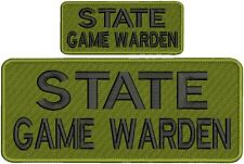 """State Game Warden"" embroidery patch 4x10 and 2x5 hook OD green"