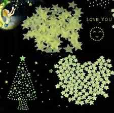Light Green Glow In The Dark Star Stickers Decal Baby Kids Room Home Wall 00pcs