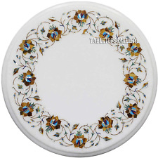 """12"""" White Marble Coffee Round Table Top Jasper Marquetry Inlay Garden Deco H2338"""