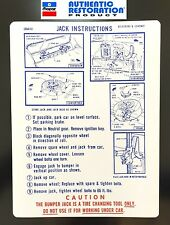 1969 Plymouth Satellite GTX Road Runner Jacking Instructions Trunk Lid Decal 69