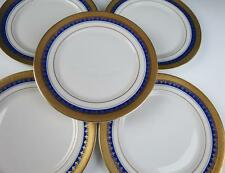 Set 12 Rosenthal Aida Royal Blue & Gold Encrusted BREAD PLATES Porcelain Cobalt