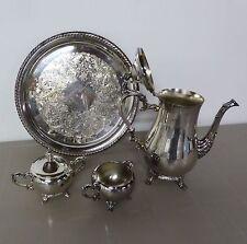 Silver Plate Tea/Coffee Set w/Serving Tray Teapot Pot