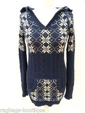 Ladies SUPERDRY SNOWFLAKE Cable Knitted NAVY BLUE LONGLINE HOODY JUMPER - SMALL