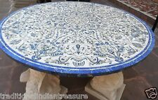 5'x5' White Marble Dining Table Top Real Lapis Lazuli Marquetry Inlay Home Decor