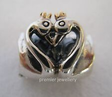 Genuine Authentic Pandora Silver 14k Gold Swan Embrace Charm Bead 791189